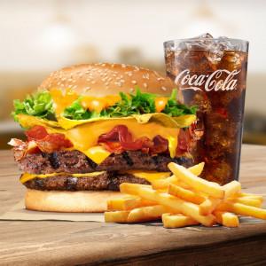 Combo Burger 2 miếng bò khoai giòn tràn phô mai (bánh lớn)