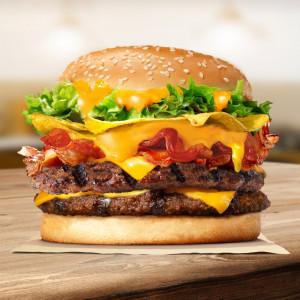 Burger 2 miếng bò khoai giòn tràn phô mai (bánh lớn)