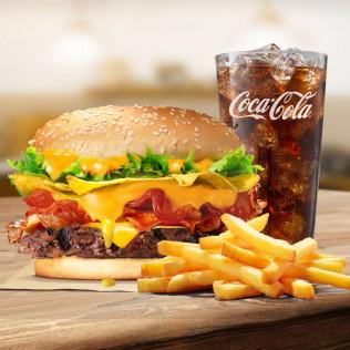 Combo Burger bò khoai giòn tràn phô mai (bánh lớn)